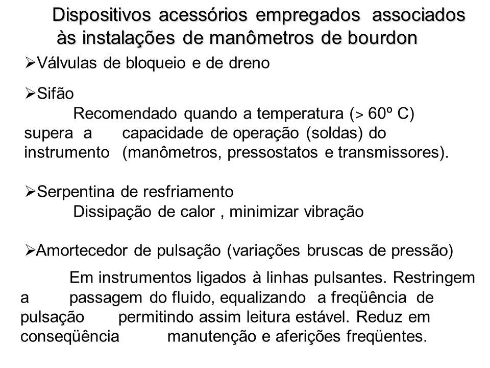 Dispositivos acessórios empregados associados às instalações de manômetros de bourdon