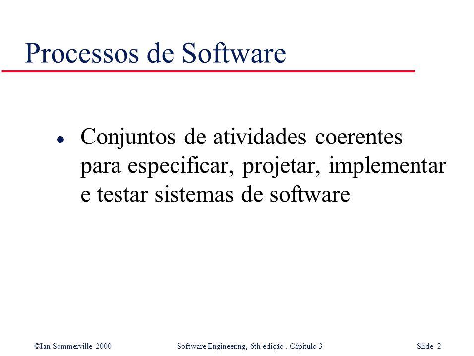 Processos de Software Conjuntos de atividades coerentes para especificar, projetar, implementar e testar sistemas de software.