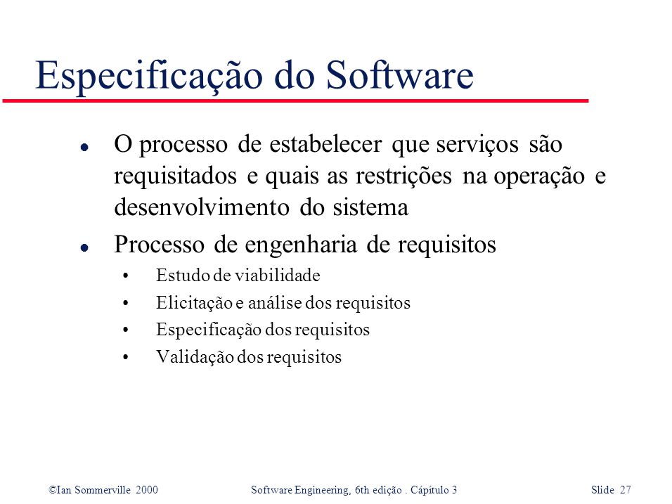 Especificação do Software