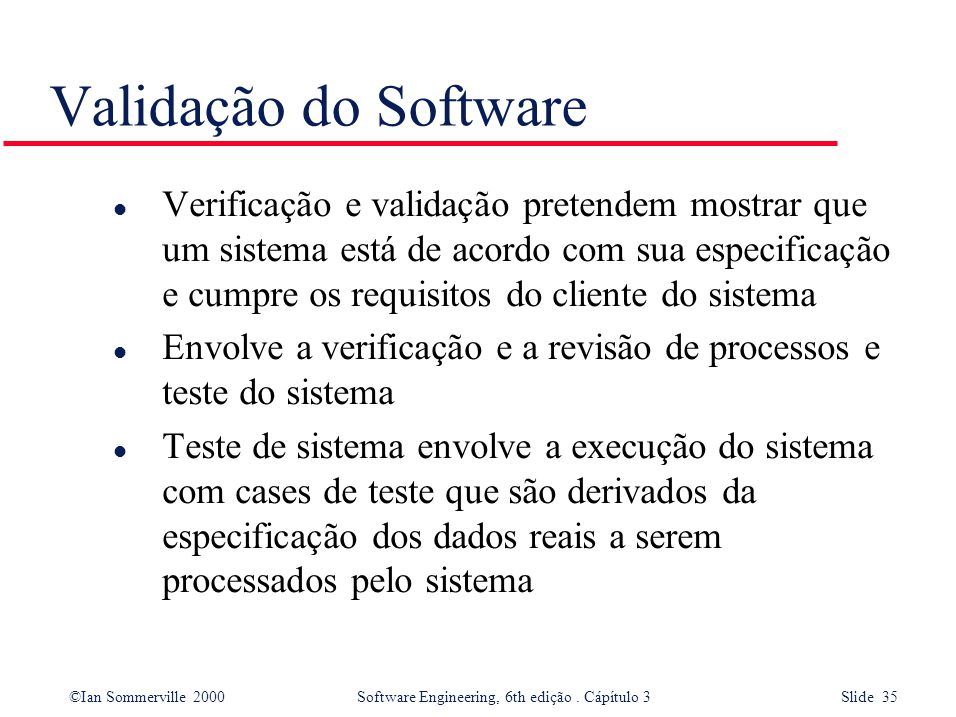Validação do Software
