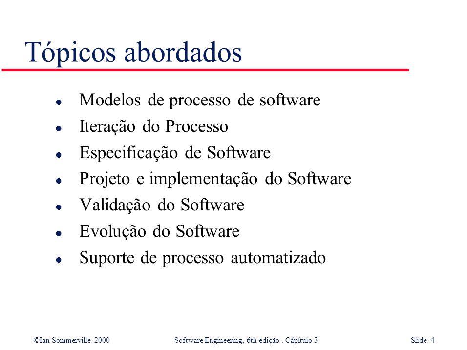 Tópicos abordados Modelos de processo de software Iteração do Processo