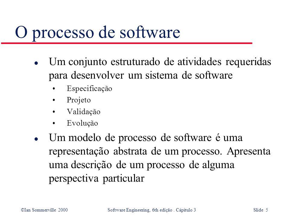 O processo de software Um conjunto estruturado de atividades requeridas para desenvolver um sistema de software.