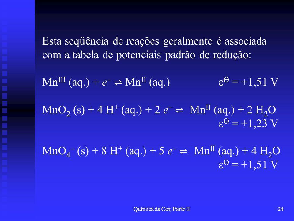 MnIII (aq.) + e ⇌ MnII (aq.) Ө = +1,51 V