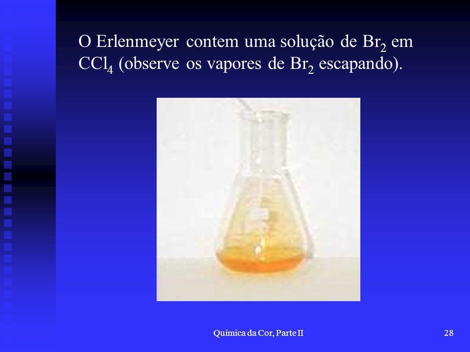 O Erlenmeyer contem uma solução de Br2 em CCl4 (observe os vapores de Br2 escapando).