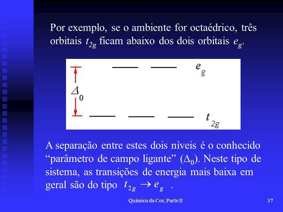 Por exemplo, se o ambiente for octaédrico, três orbitais t2g ficam abaixo dos dois orbitais eg.