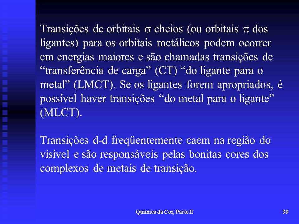 Transições de orbitais  cheios (ou orbitais  dos ligantes) para os orbitais metálicos podem ocorrer em energias maiores e são chamadas transições de transferência de carga (CT) do ligante para o metal (LMCT). Se os ligantes forem apropriados, é possível haver transições do metal para o ligante (MLCT).