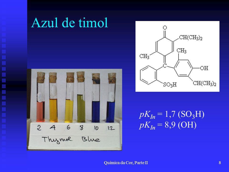 Azul de timol pKIn = 1,7 (SO3H) pKIn = 8,9 (OH)