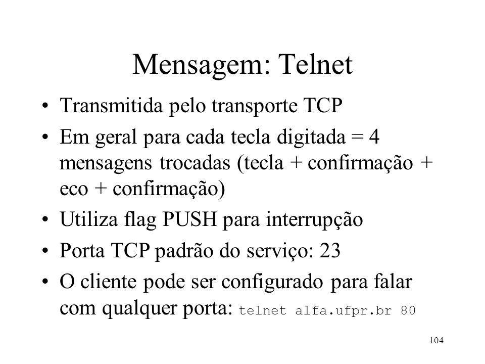 Mensagem: Telnet Transmitida pelo transporte TCP