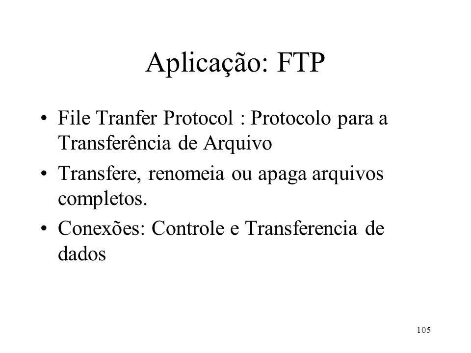 Aplicação: FTP File Tranfer Protocol : Protocolo para a Transferência de Arquivo. Transfere, renomeia ou apaga arquivos completos.