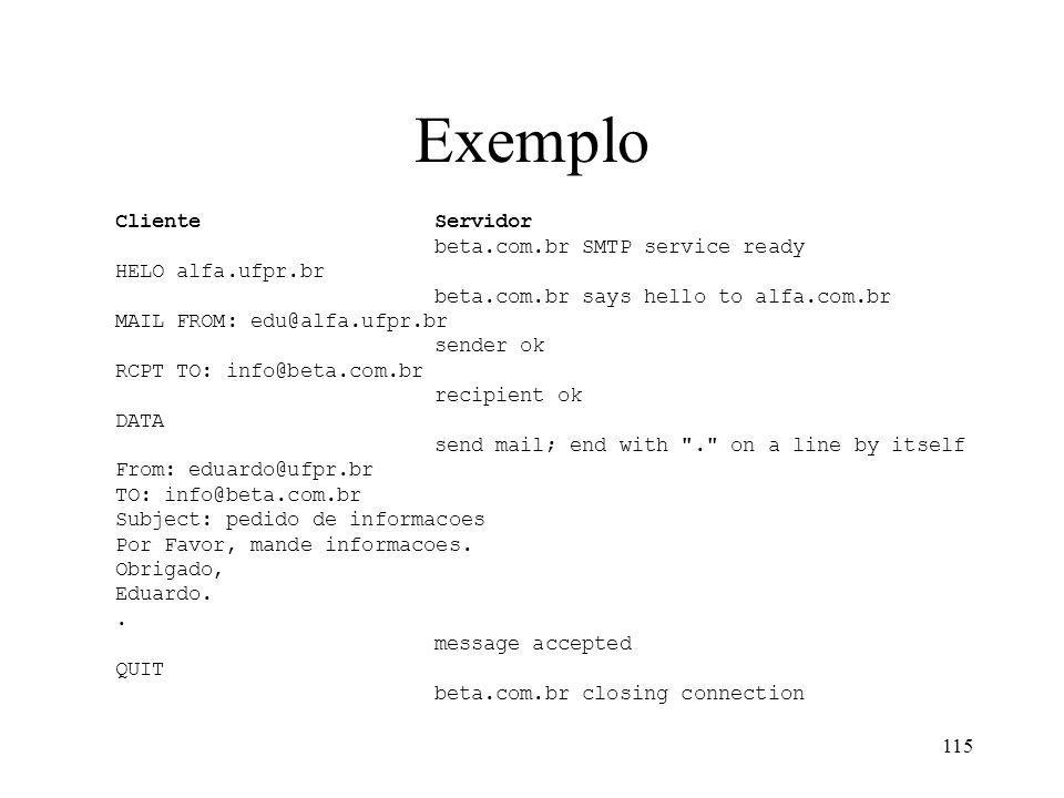 Exemplo Cliente Servidor beta.com.br SMTP service ready