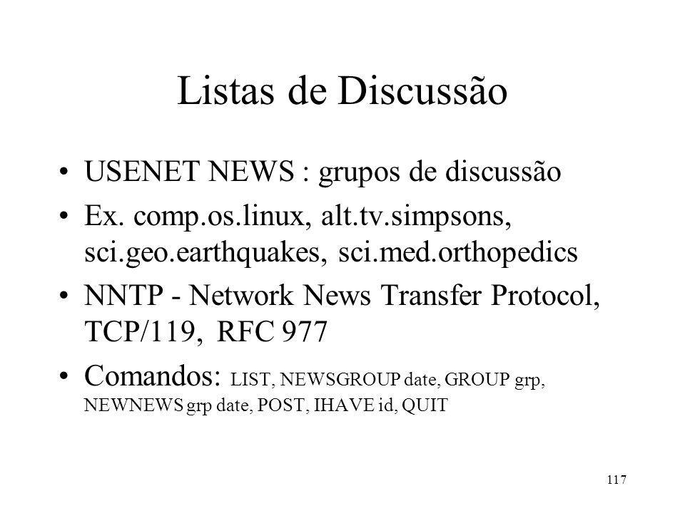 Listas de Discussão USENET NEWS : grupos de discussão