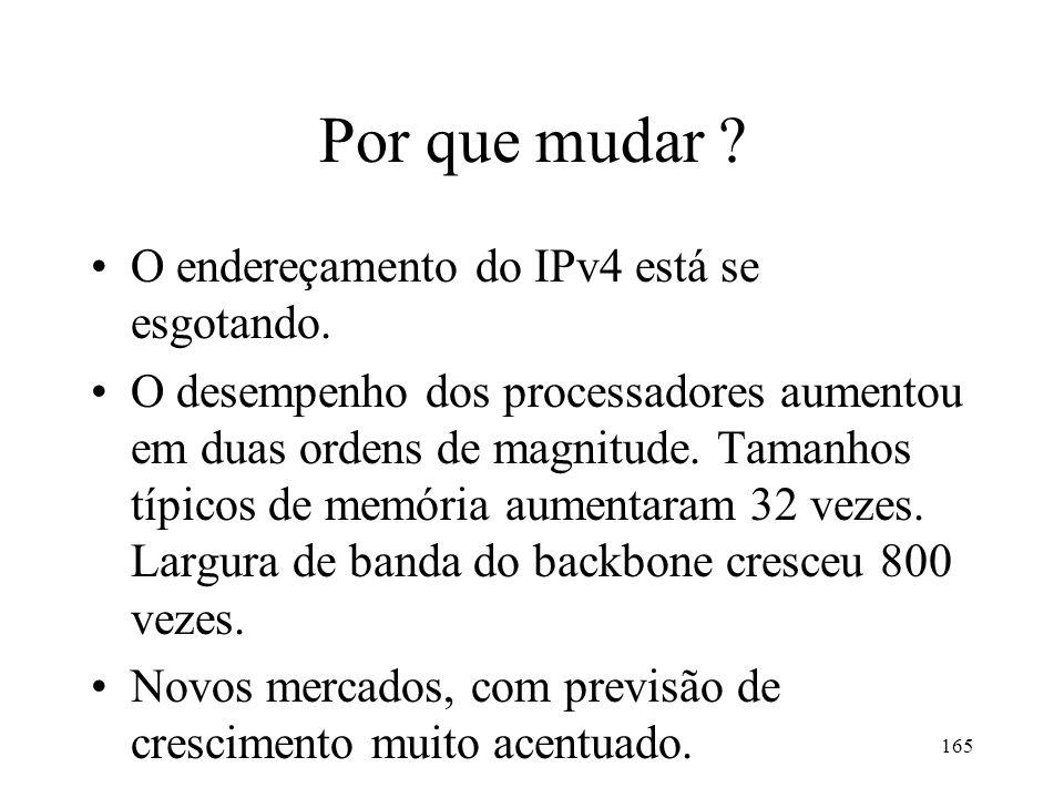 Por que mudar O endereçamento do IPv4 está se esgotando.