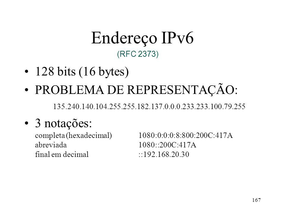 Endereço IPv6 128 bits (16 bytes)