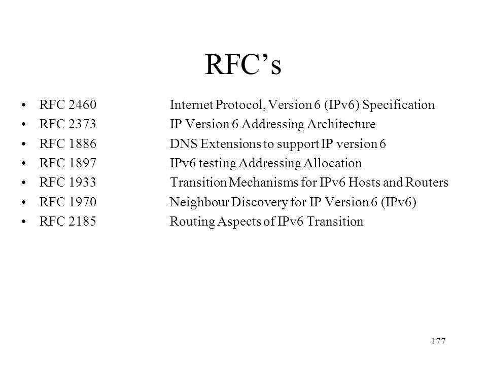 RFC's RFC 2460 Internet Protocol, Version 6 (IPv6) Specification