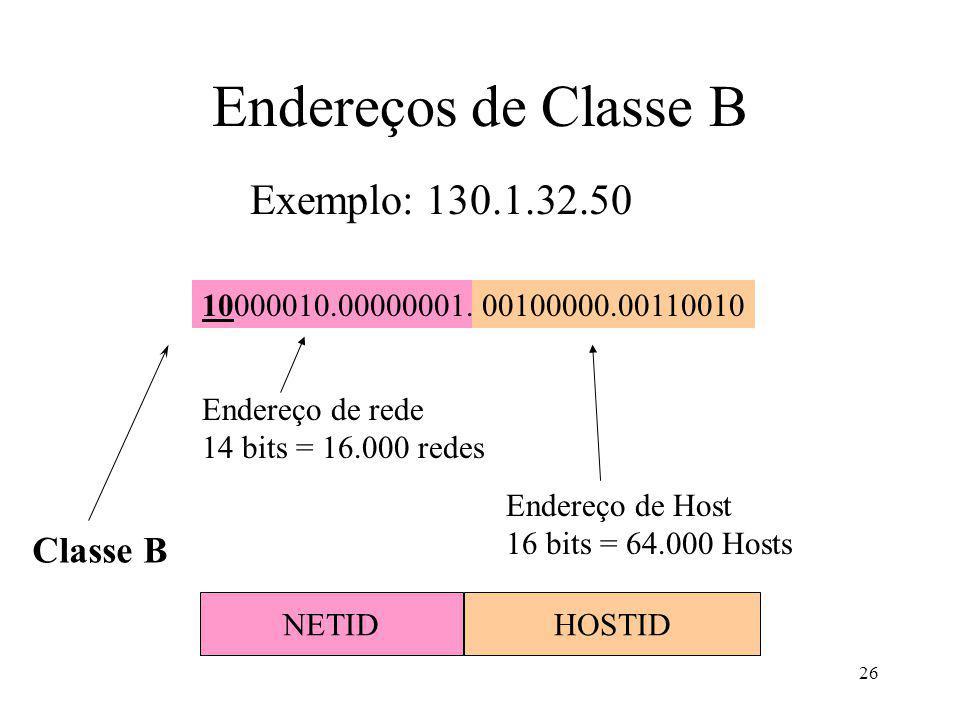 Endereços de Classe B Exemplo: 130.1.32.50 Classe B 10000010.00000001.