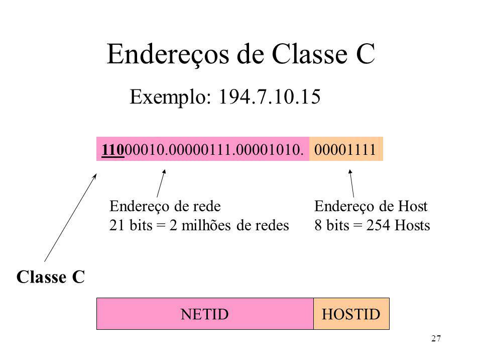 Endereços de Classe C Exemplo: 194.7.10.15 Classe C