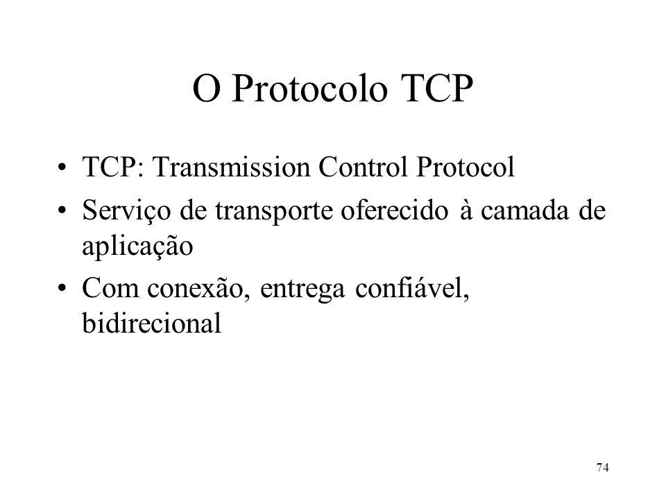 O Protocolo TCP TCP: Transmission Control Protocol