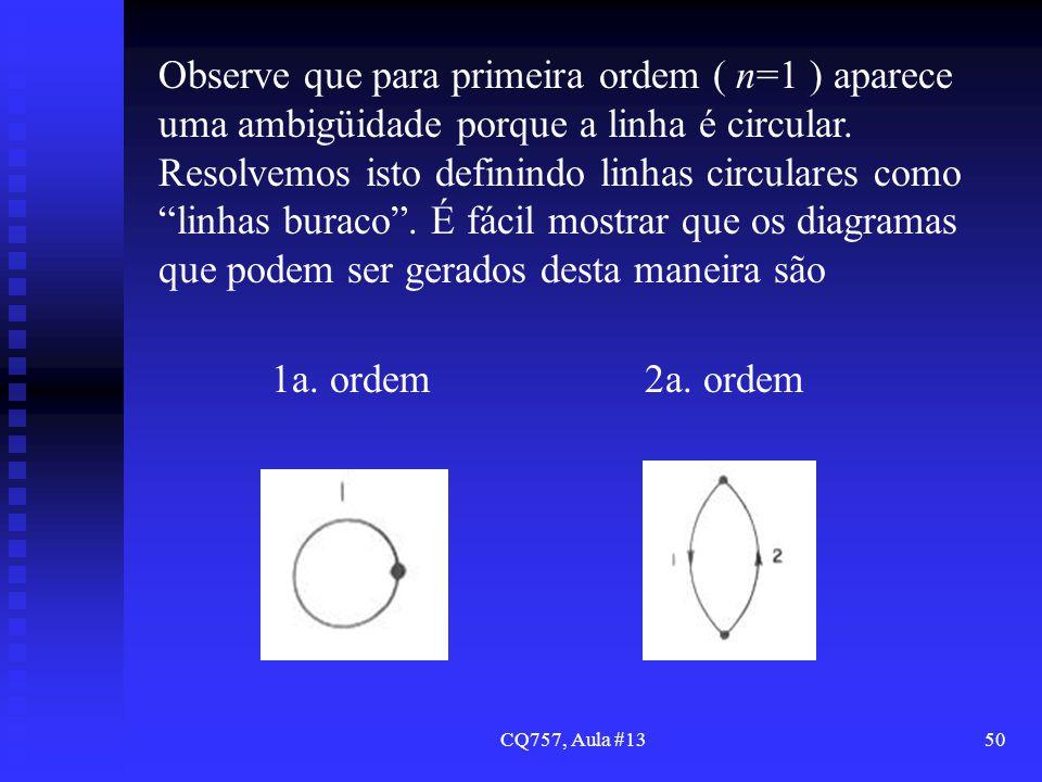 Observe que para primeira ordem ( n=1 ) aparece uma ambigüidade porque a linha é circular. Resolvemos isto definindo linhas circulares como linhas buraco . É fácil mostrar que os diagramas que podem ser gerados desta maneira são