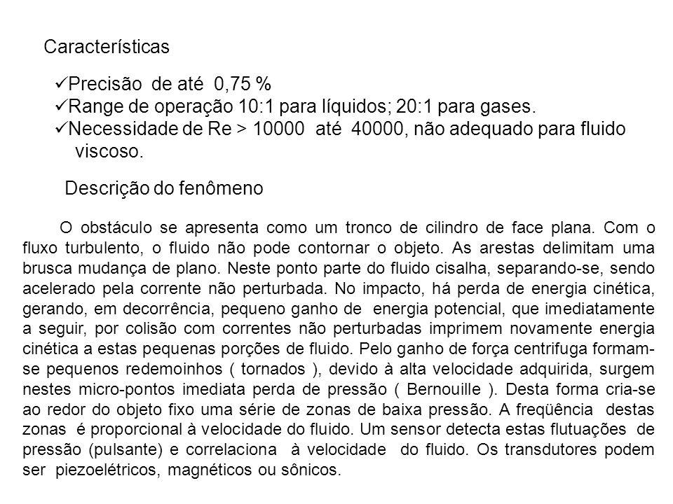 Range de operação 10:1 para líquidos; 20:1 para gases.