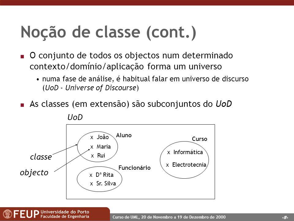 Noção de classe (cont.) O conjunto de todos os objectos num determinado contexto/domínio/aplicação forma um universo.