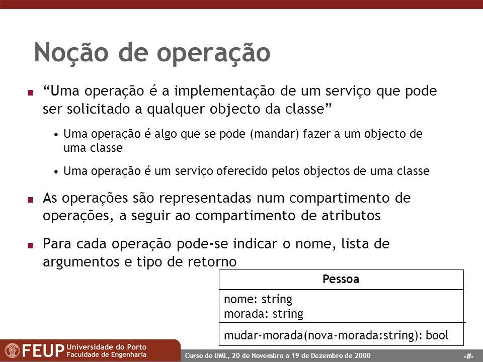 Noção de operação Uma operação é a implementação de um serviço que pode ser solicitado a qualquer objecto da classe