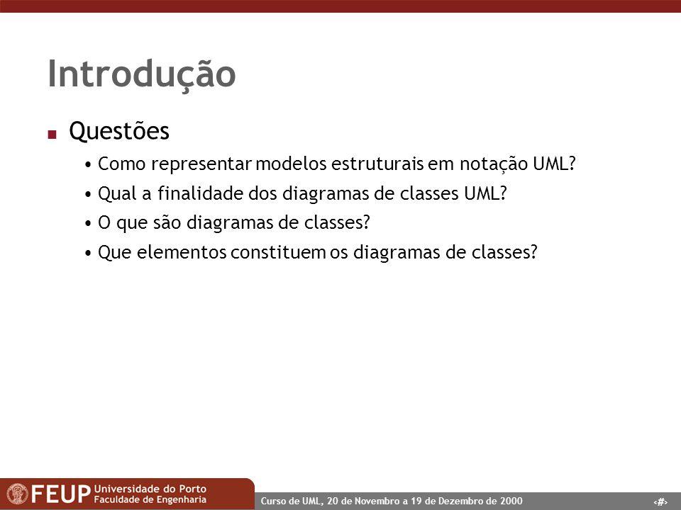 Introdução Questões. Como representar modelos estruturais em notação UML Qual a finalidade dos diagramas de classes UML