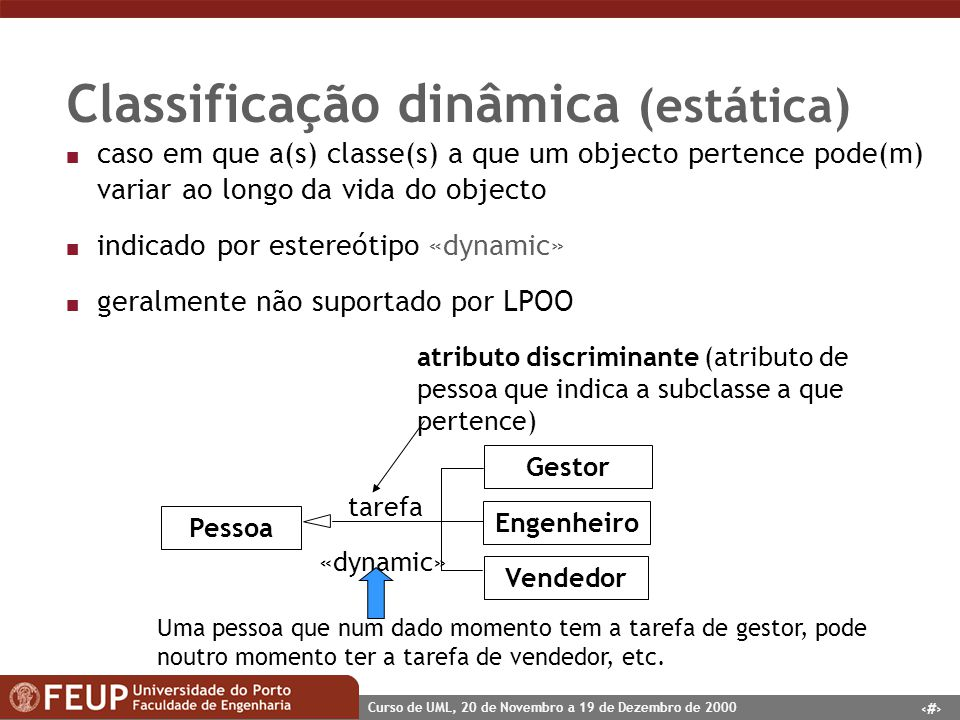 Classificação dinâmica (estática)