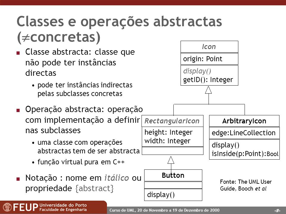 Classes e operações abstractas (concretas)
