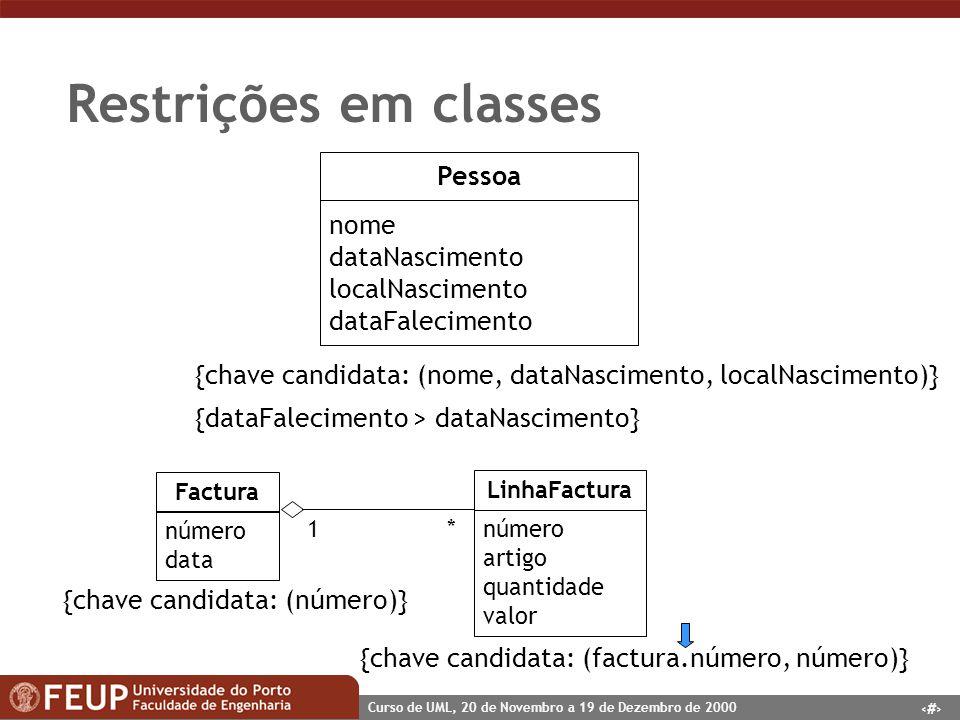 Restrições em classes Pessoa nome dataNascimento localNascimento