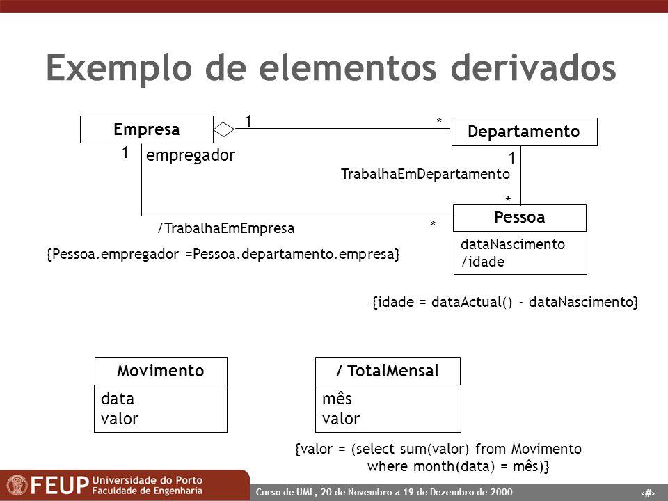 Exemplo de elementos derivados