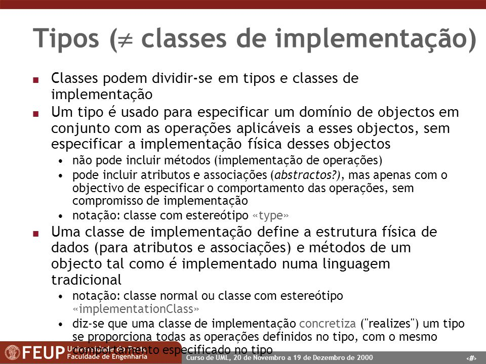 Tipos ( classes de implementação)