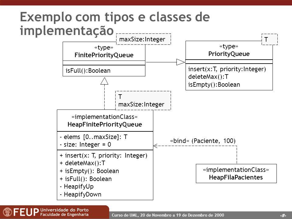 Exemplo com tipos e classes de implementação