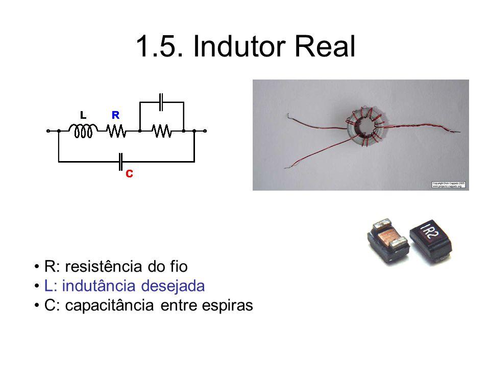 1.5. Indutor Real R: resistência do fio L: indutância desejada