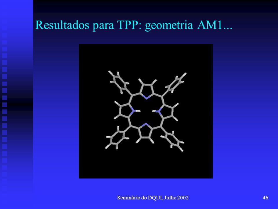 Resultados para TPP: geometria AM1...