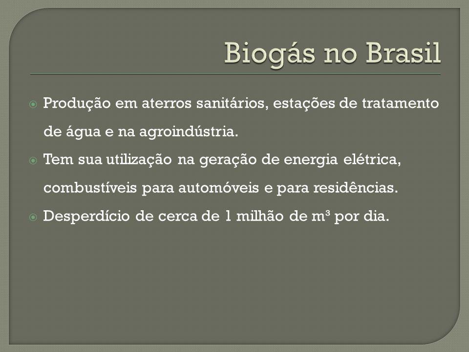 Biogás no Brasil Produção em aterros sanitários, estações de tratamento de água e na agroindústria.