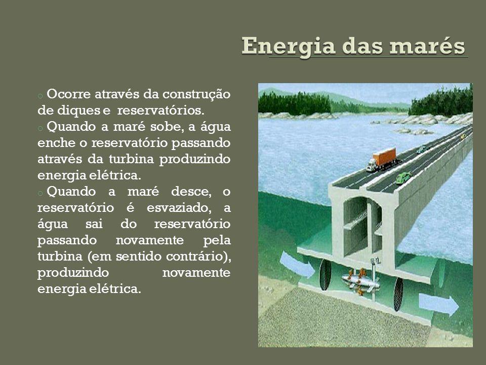 Energia das marés Ocorre através da construção de diques e reservatórios.