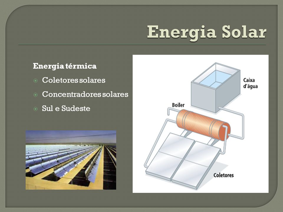 Energia Solar Energia térmica Coletores solares Concentradores solares