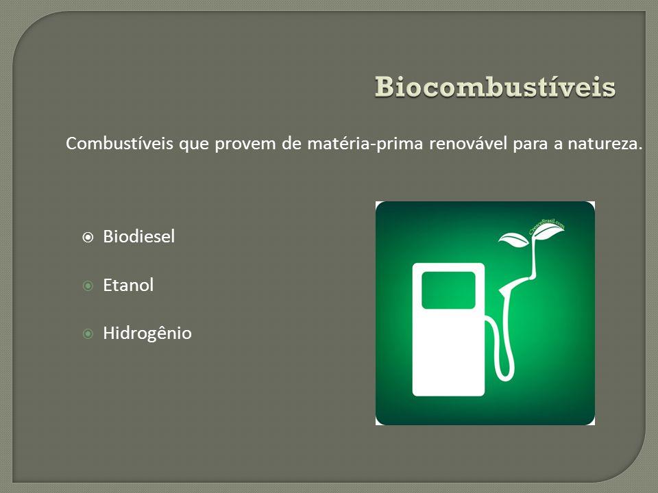 Biocombustíveis Combustíveis que provem de matéria-prima renovável para a natureza. Biodiesel. Etanol.
