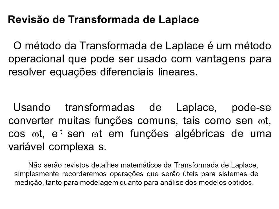 Revisão de Transformada de Laplace