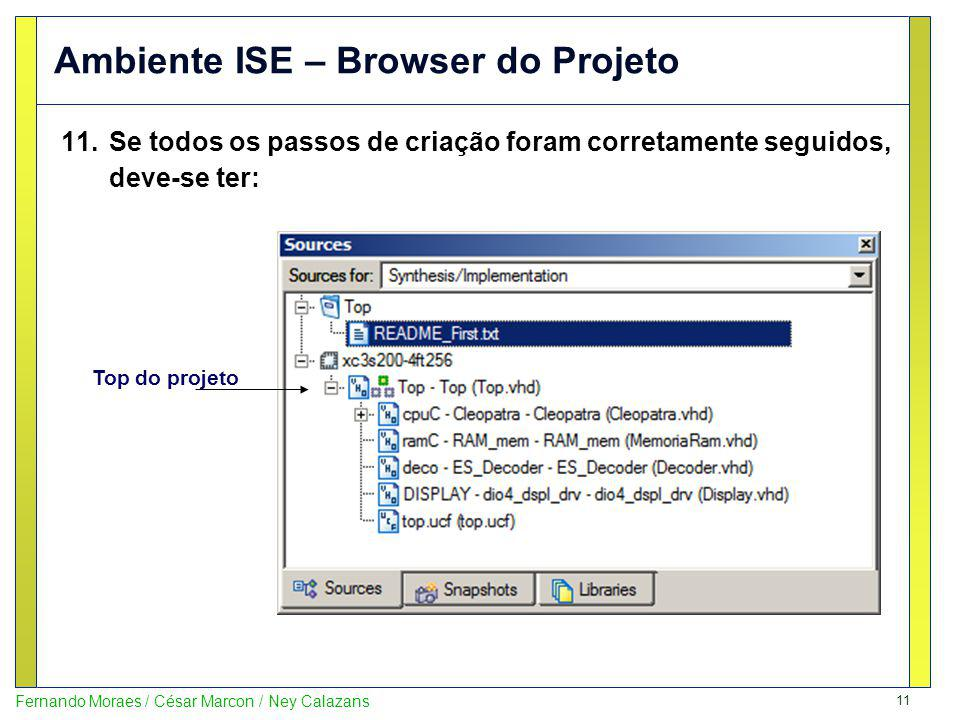 Ambiente ISE – Browser do Projeto