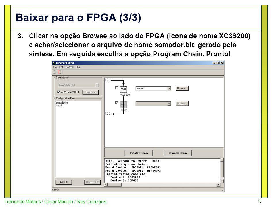 Baixar para o FPGA (3/3)