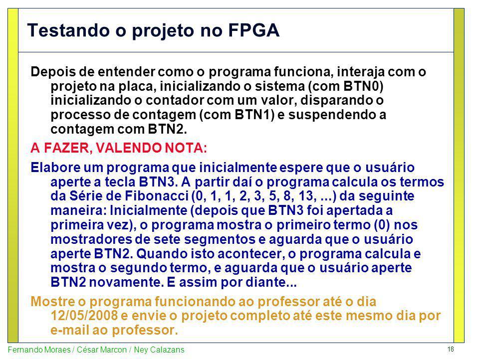 Testando o projeto no FPGA