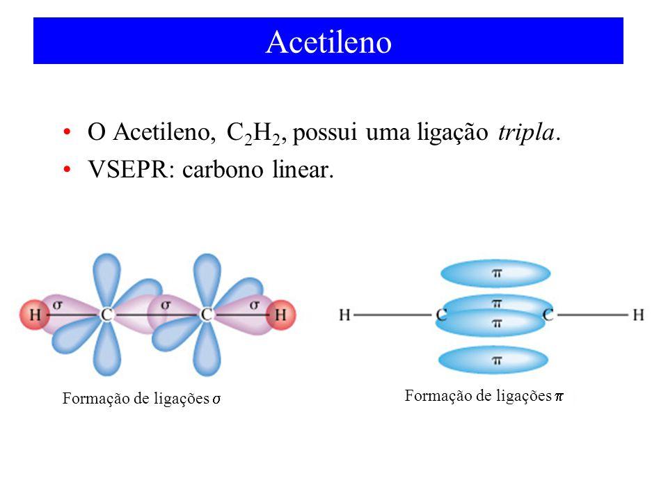 Acetileno O Acetileno, C2H2, possui uma ligação tripla.