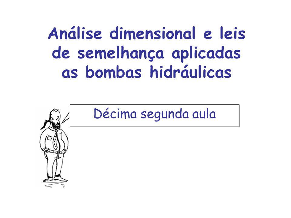 Análise dimensional e leis de semelhança aplicadas as bombas hidráulicas