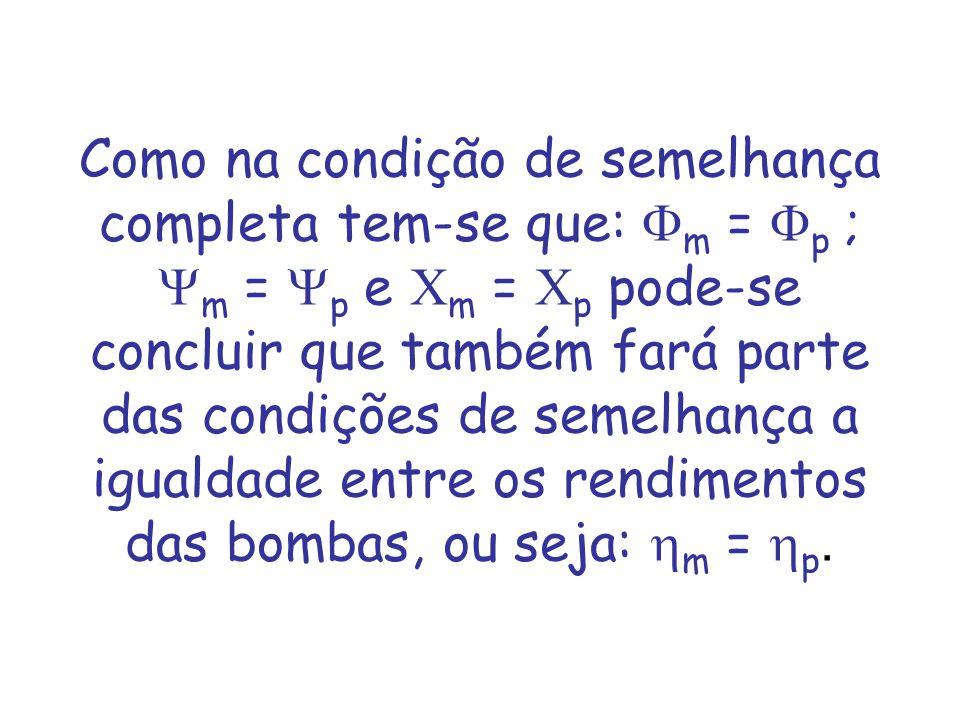 Como na condição de semelhança completa tem-se que: Fm = Fp ; Ym = Yp e Cm = Cp pode-se concluir que também fará parte das condições de semelhança a igualdade entre os rendimentos das bombas, ou seja: hm = hp.
