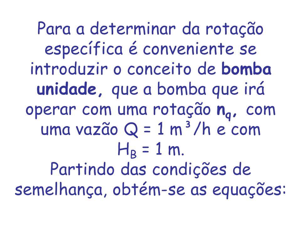 Para a determinar da rotação específica é conveniente se introduzir o conceito de bomba unidade, que a bomba que irá operar com uma rotação nq, com uma vazão Q = 1 m³/h e com HB = 1 m.