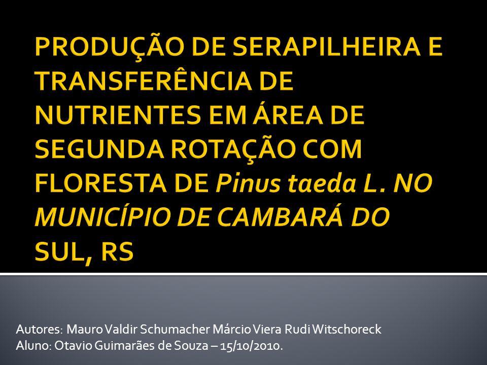 PRODUÇÃO DE SERAPILHEIRA E TRANSFERÊNCIA DE NUTRIENTES EM ÁREA DE SEGUNDA ROTAÇÃO COM FLORESTA DE Pinus taeda L. NO MUNICÍPIO DE CAMBARÁ DO SUL, RS