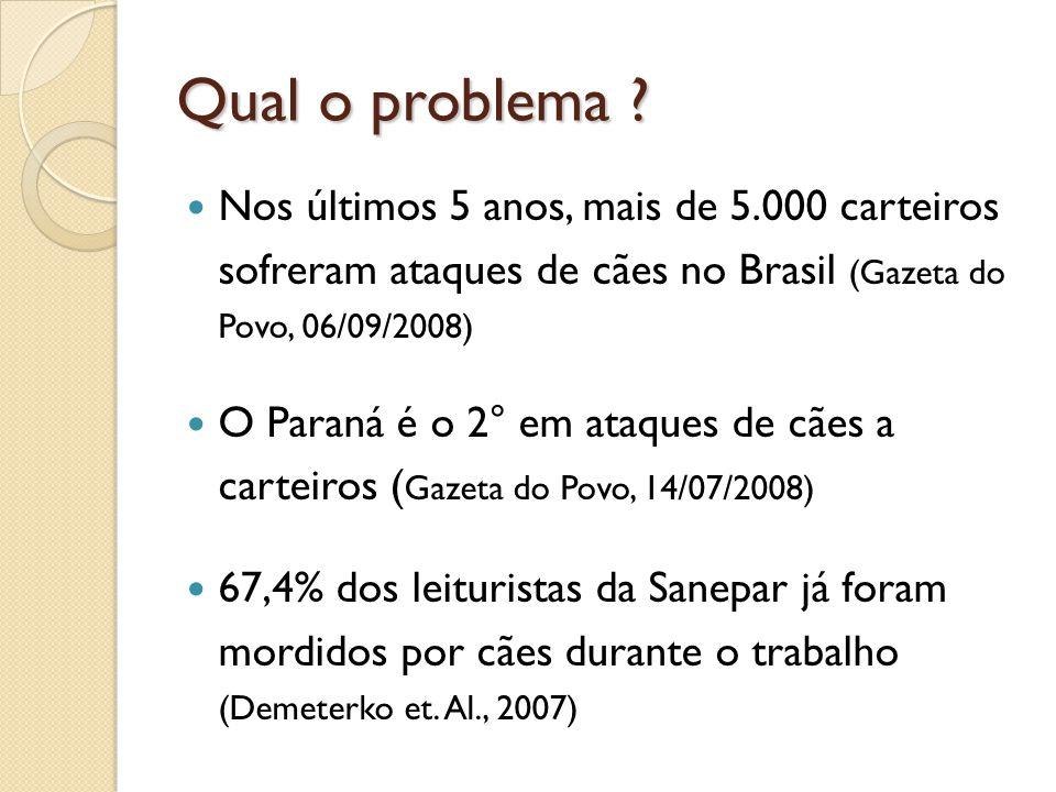 Qual o problema Nos últimos 5 anos, mais de 5.000 carteiros sofreram ataques de cães no Brasil (Gazeta do Povo, 06/09/2008)