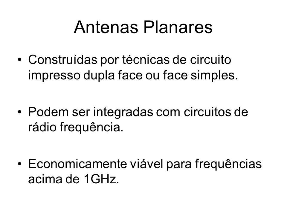 Antenas Planares Construídas por técnicas de circuito impresso dupla face ou face simples. Podem ser integradas com circuitos de rádio frequência.