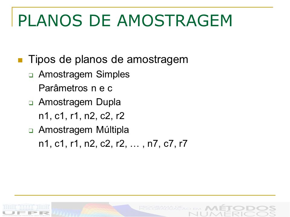 PLANOS DE AMOSTRAGEM Tipos de planos de amostragem Amostragem Simples